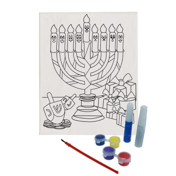 Menorah Canvas Paint Set | Hanukkah DIY Canvas Paint Set