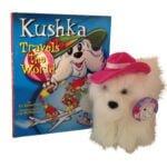 Kushka Travels the World book and plush scaled