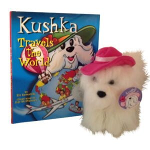 Kushka Travels the World book and plush scaled