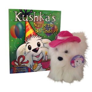 Kushkas Surprise Birthday book and plush toy scaled