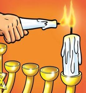 Maccabees Hanukkah Story first night Hanukkah candle 277x300