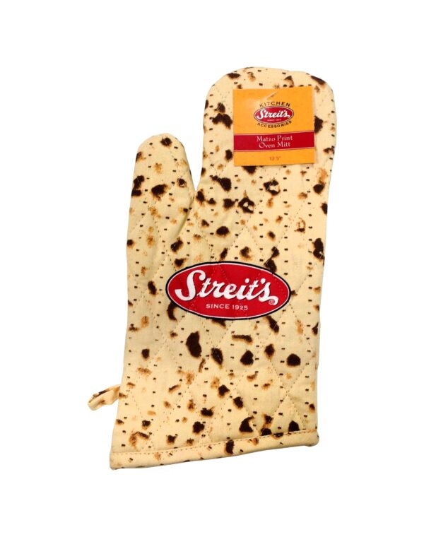 Streit's Matzah Print Design - Passover Kitchen Accessory Set - Oven Mitt and Herringbone Kitchen Towel