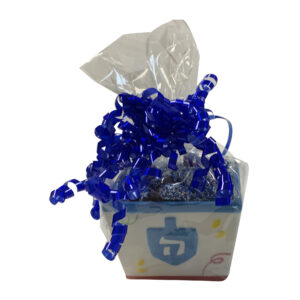 Hanukkah Candy Dish with chocolates wrapped